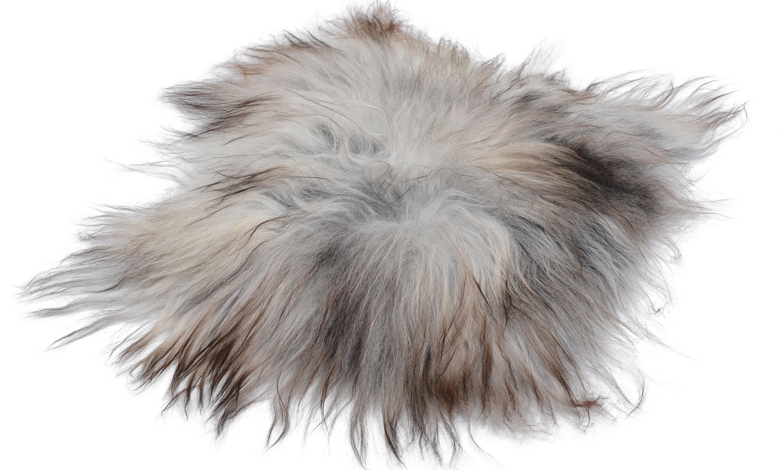 Image of   Molly natural grey PW - langhåret firkantet stolehynde i fåreskind økologisk