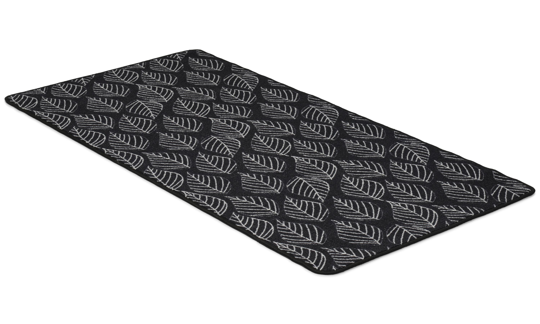 Image of   Leaf antracit - tæppe med gummibagside