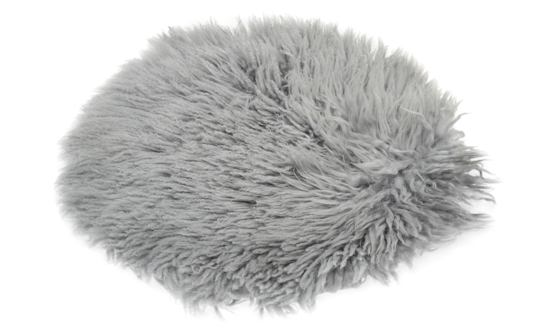 Image of   Frizzy langhåret rund stolehynde i fåreskind - lysegrå