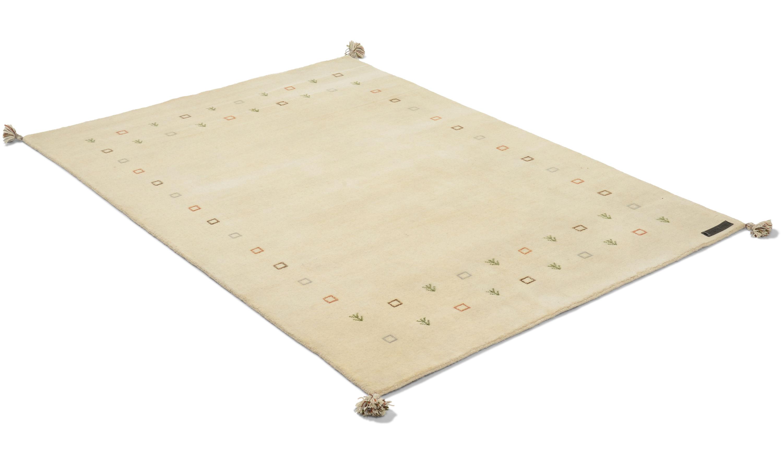 Gabbeh vit - handvävd matta med lugg