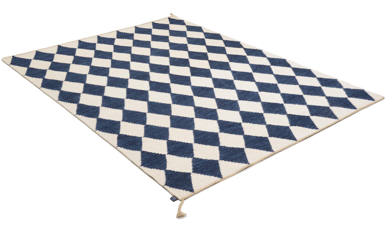 Image of   Harlequin mørkeblå - håndvævet uldtæppe