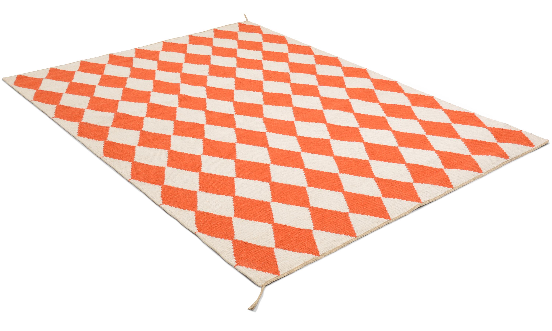 Image of   Harlequin orange - håndvævet uldtæppe