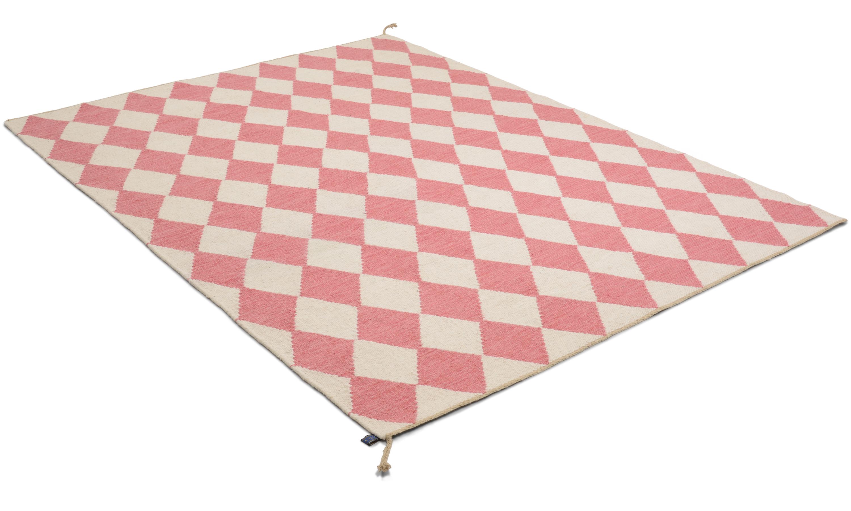 Image of   Harlequin lyserød - håndvævet uldtæppe