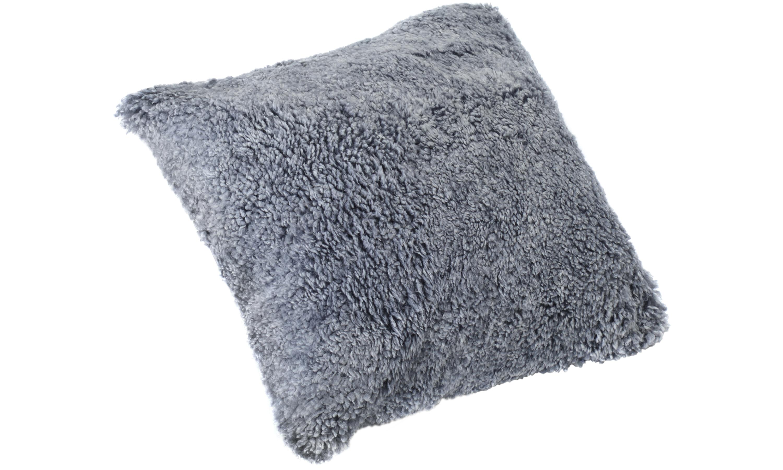 Image of   Krøllet fåreskindspude - sølvgrå