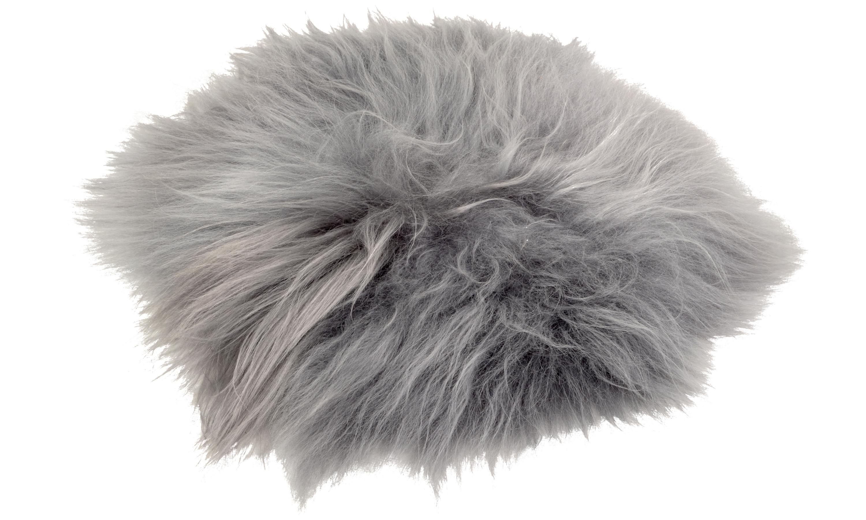Image of   Molly langhåret rund stolehynde i fåreskind - grå brisa
