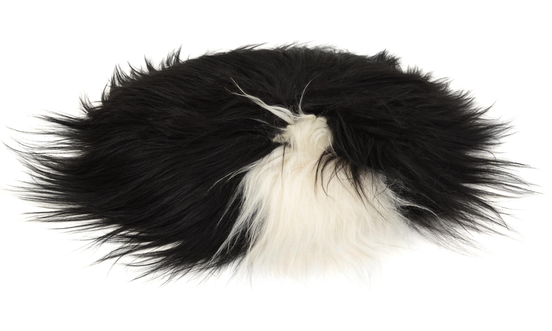 Image of   Molly langhåret rund stolehynde i fåreskind - spotted