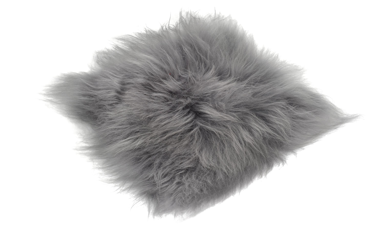 Billede af Molly grå brisa - langhåret firkantet stolehynde i fåreskind