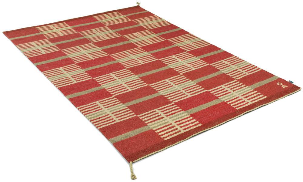 Image of   Lindö rød - håndvævet uldtæppe