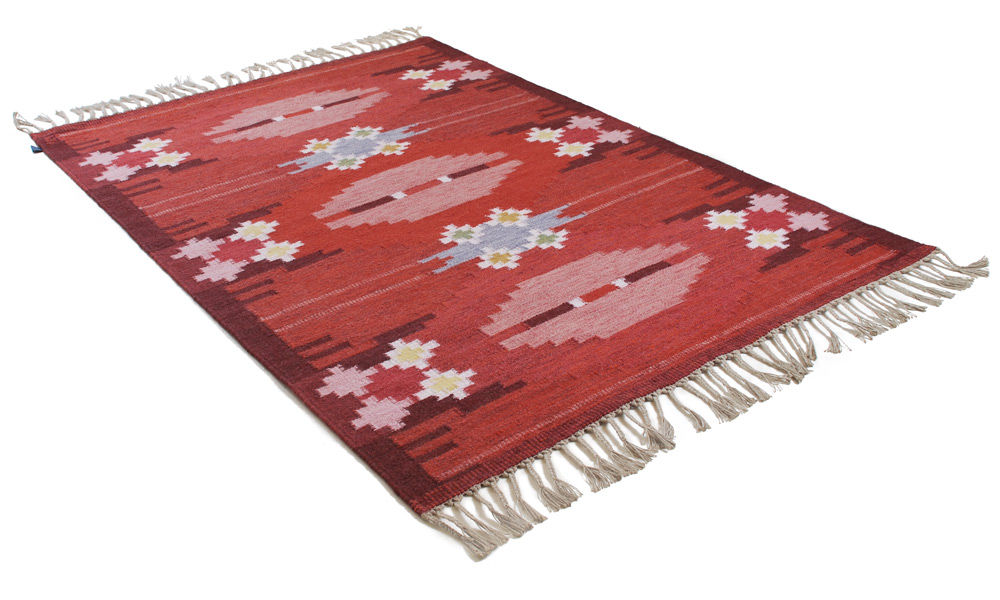 Image of   Örbyhus rød - håndvævet uldtæppe