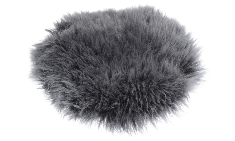 Image of   Langhåret rund stolehynde i fåreskind - antracit