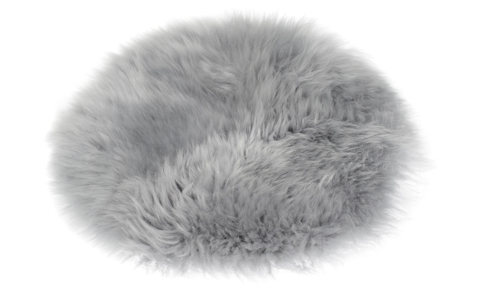 Image of   Langhåret rund stolehynde i fåreskind - lysegrå