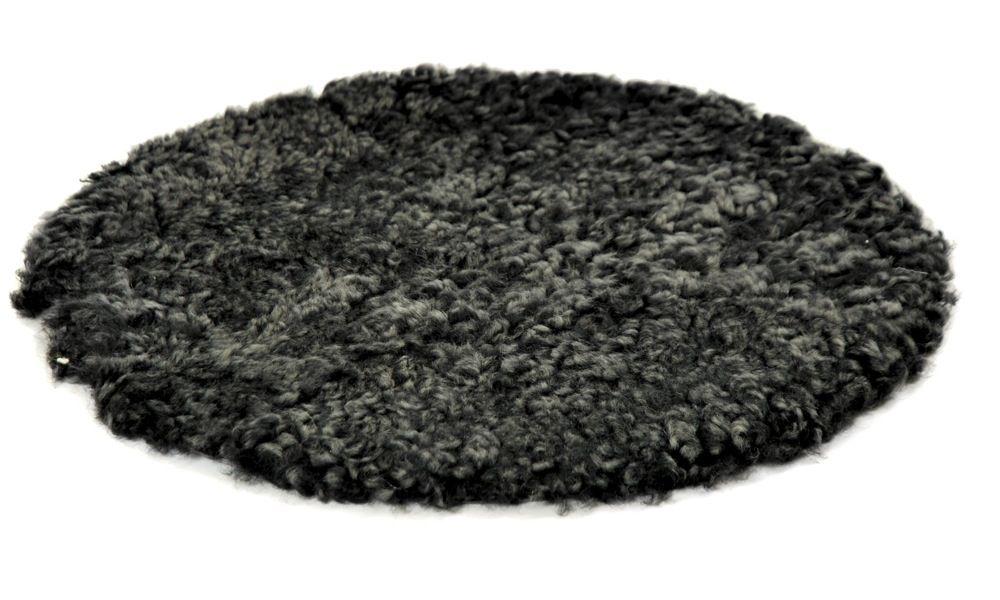 Image of   Krøllet rund stolehynde i fåreskind - mørkegrå