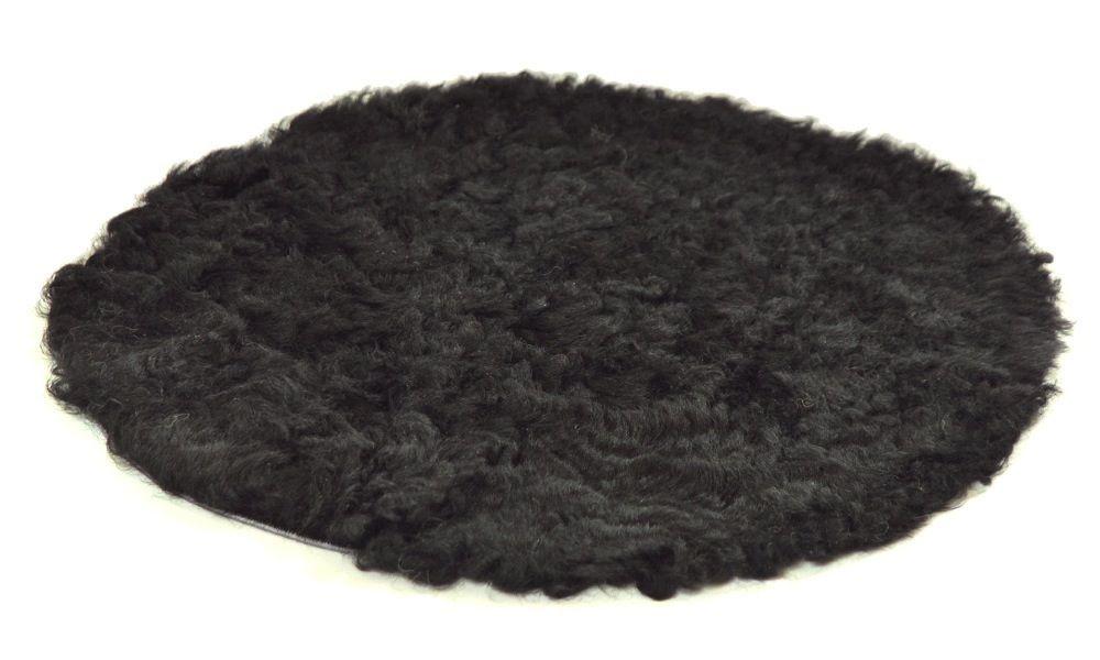 Image of   Krøllet rund stolehynde i fåreskind - sort