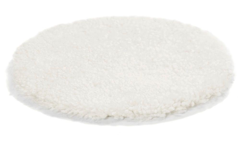 Image of   Krøllet rund stolehynde i fåreskind - hvid