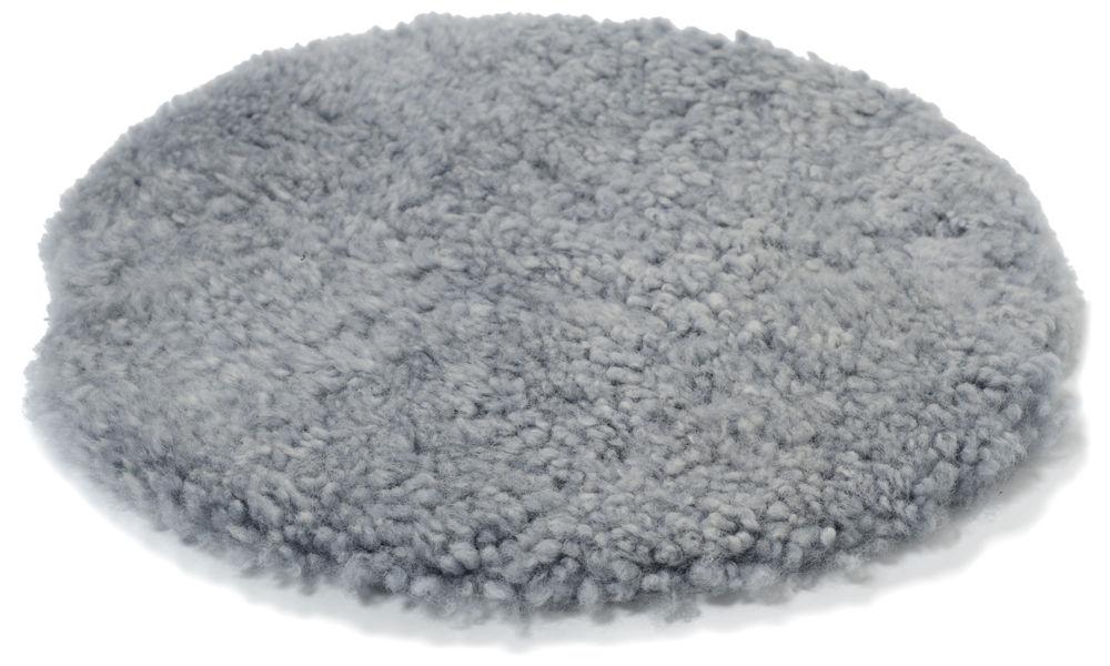 Image of   Krøllet rund stolehynde i fåreskind - lysegrå